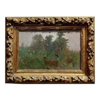 Paul De Frick -Woman in a Park -Oil Painting-French Impressionist C1890s