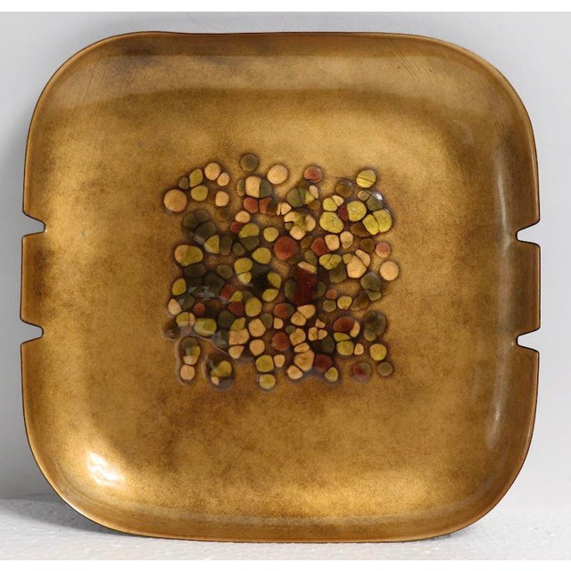 Gold Enameled Mid Century Ashtray by Bovano For Sale - Image 8 of 8