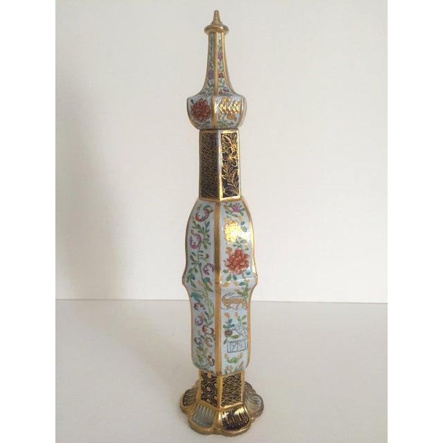 Vintage Middle Eastern Multicolor Floral Ceramic Bottle - Image 9 of 11
