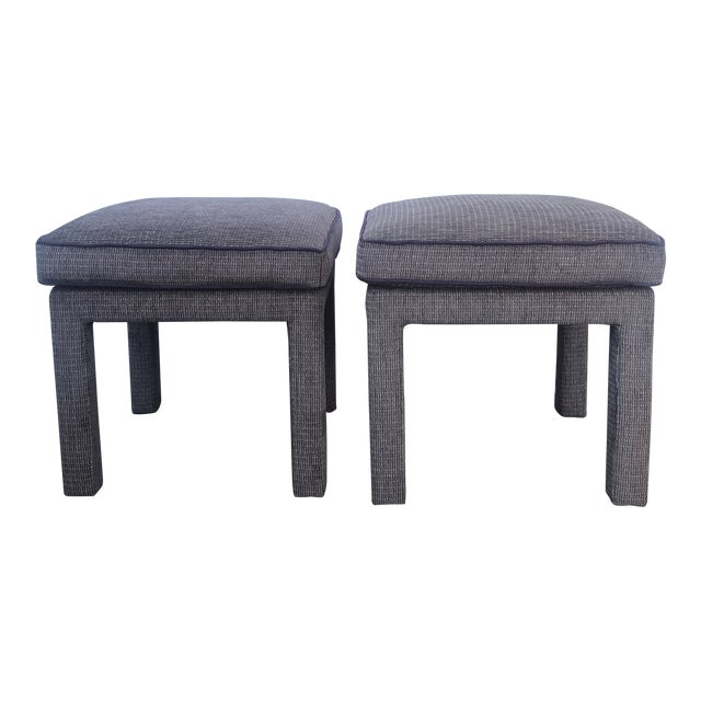 Pair of 1970s Upholstered Parsons Stools For Sale