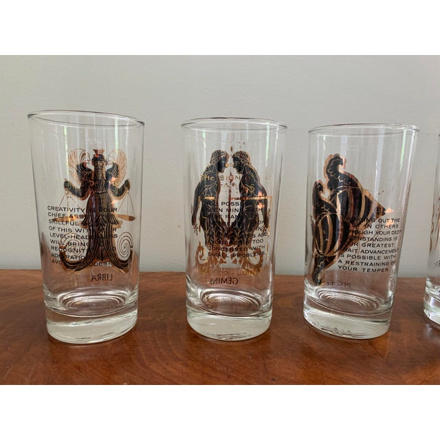 1960s Vintage Zodiac Tall Glasses - Set of 6 For Sale - Image 5 of 10
