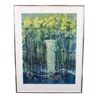Kenneth Forman Gouache Garden Scene For Sale