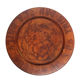 Antique Art Nouveau Round Hand-Carved Bread Board With Poppies and Wheat For Sale