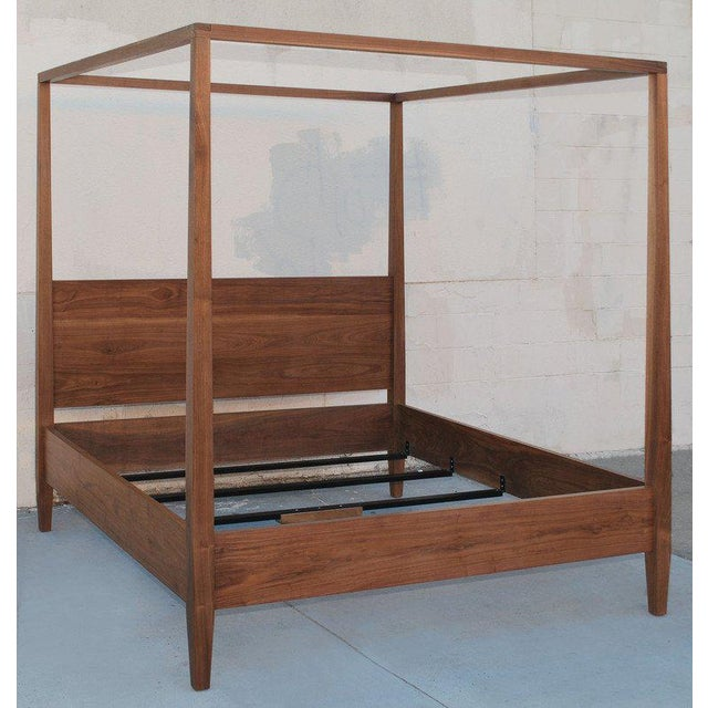 Mid-Century Modern Black Walnut King Bed, Custom Made by Petersen Antiques For Sale - Image 3 of 11