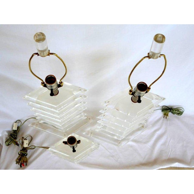 Lucite Diamond Lamps - A Pair - Image 4 of 7