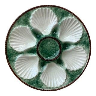 1930 Longchamp Majolica Oyster Plate For Sale