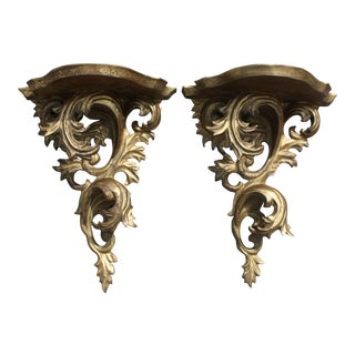 Pair of Vintage Rococo Gilt Wood Wall Brackets For Sale