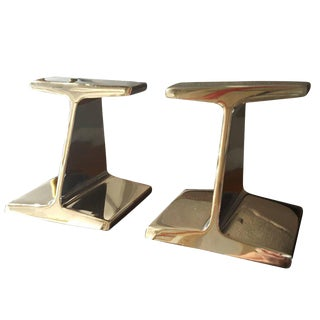 Chrome-Plated Steel Railroad Tie Bookends, 1970s - A Pair For Sale