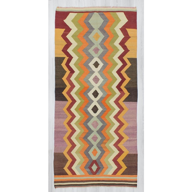 Vintage modern kilim rug from Izmir region of Turkey. In good condition. Approximately 45-55 years old.