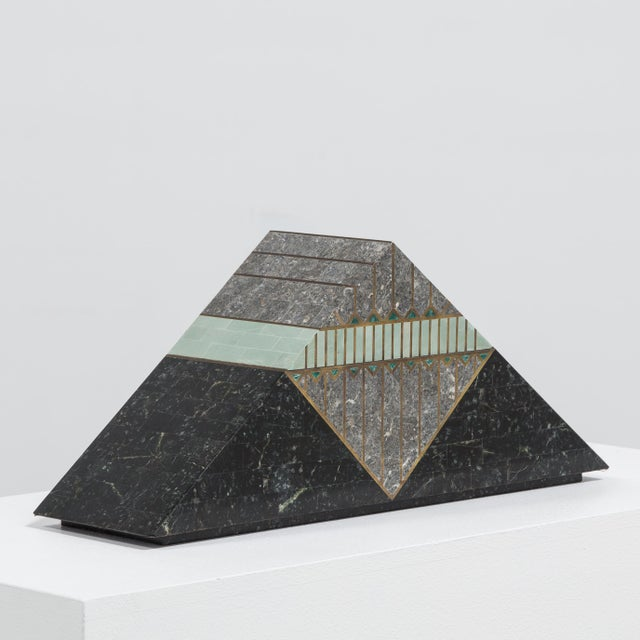 A Robert Marcius for Casa Bique designed Tessellated Stone Pyramid Box 1980s Price includes 20% VAT which is removed for...
