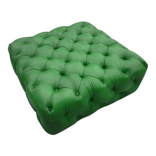 Ypsilanti Green Leather Tufted Ottoman For Sale