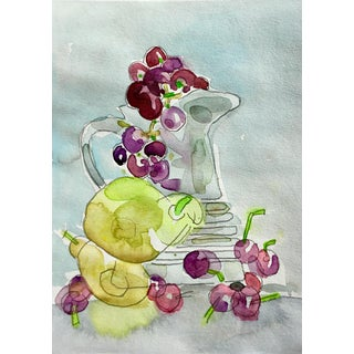 Still Life With Grapes Watercolor Painting For Sale