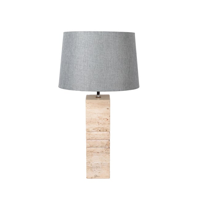 1970s Italian Hand-Carved Travertine Mid-Century Modern Table Lamp Harp & Finial, 1970 For Sale - Image 5 of 12
