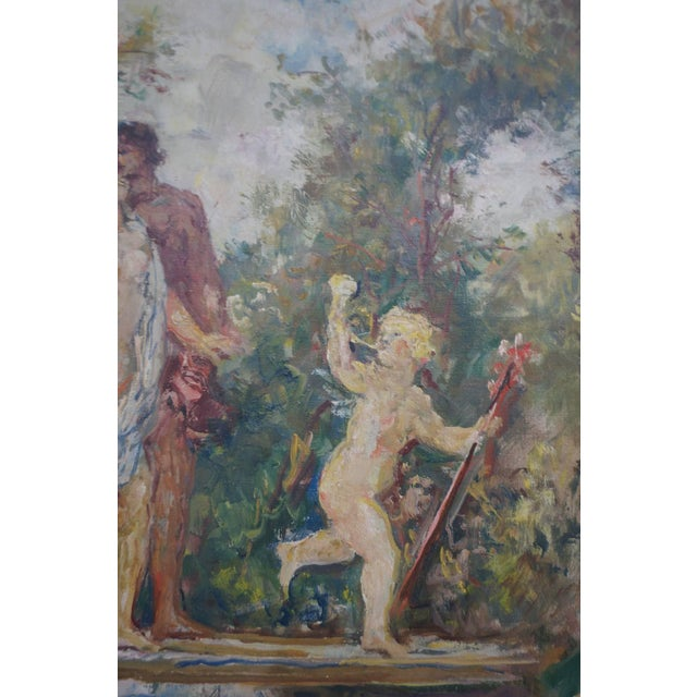 """The Garden"" Oil on Canvas: Herman Lipot, Hungary, 20th Century For Sale In West Palm - Image 6 of 10"