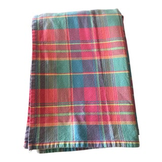 1980s Mid-Century Modern Madras Plaid Cotton Tablecloth