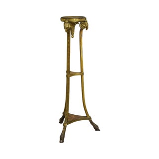 1950s Italian Gilt Wood Pedestal Plant Stand w/ Rams Heads For Sale