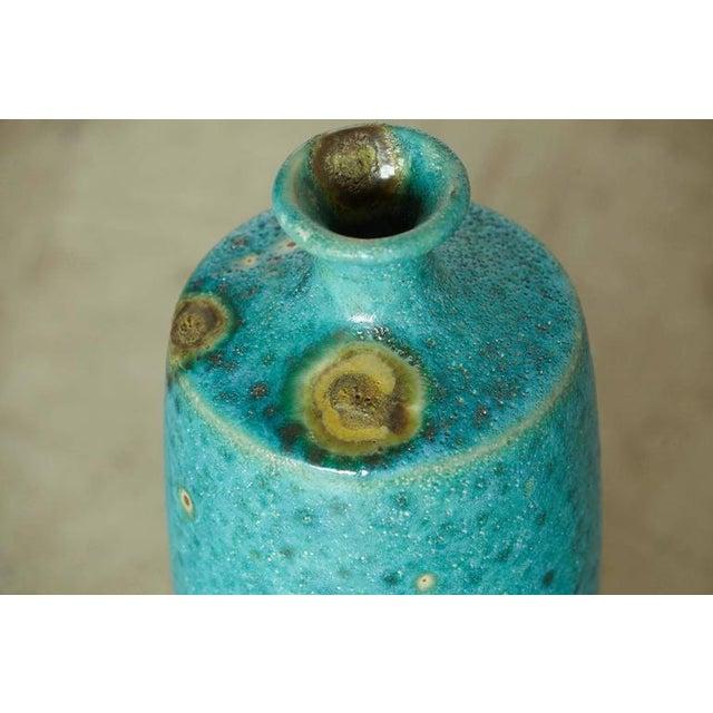 Blue Guido Gambone - Large Italian Modern Turquoise Blue Ceramic Vase For Sale - Image 8 of 8