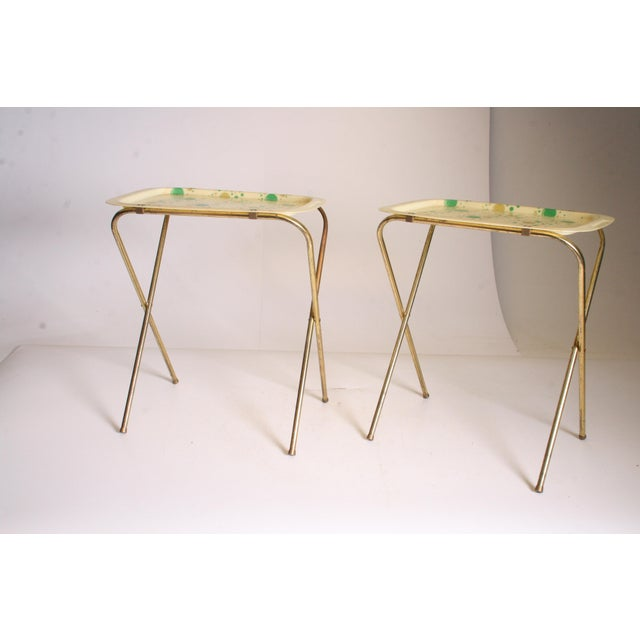 Mid Century Modern Yellow & Green TV Tray Tables - Set of 4 - Image 4 of 11
