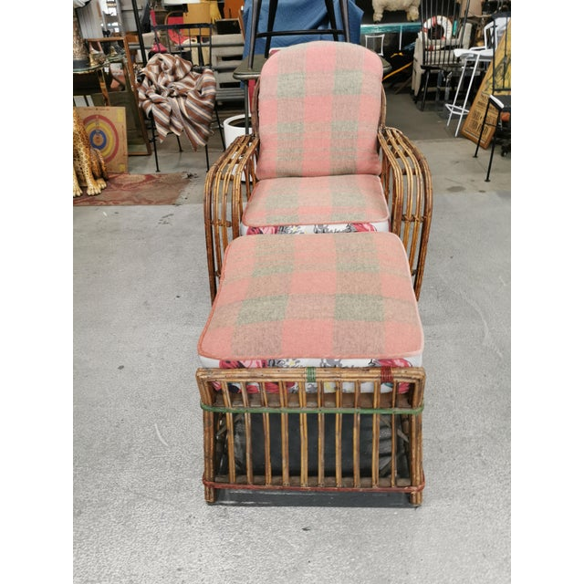 Art Deco Reeded Rattan Lounge Chair and Ottoman For Sale - Image 12 of 13