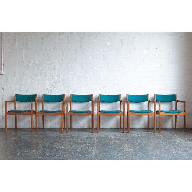 Turquoise 1960s Mid-Century Modern Teal Armchairs - Set of 6 For Sale - Image 8 of 8