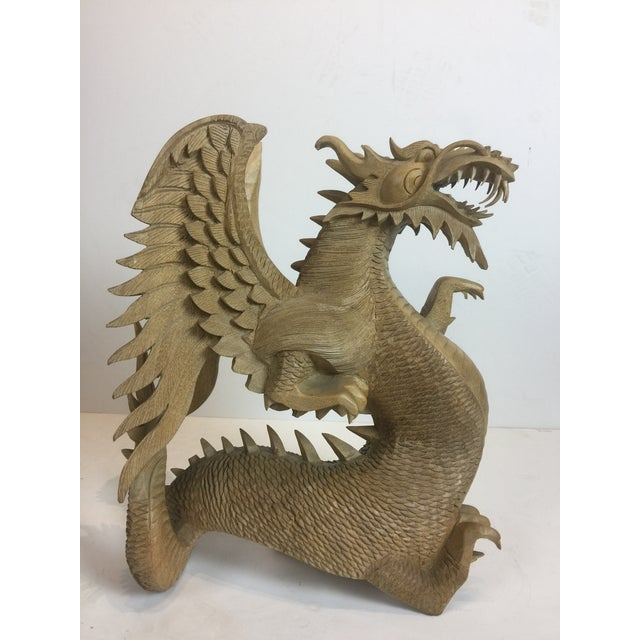 Asian Rare Magnificent Vintage-Carved Wooden Dragon Figurine For Sale - Image 3 of 13