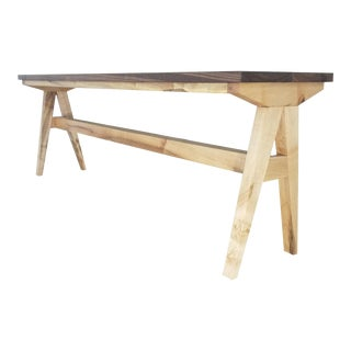 Modern Ayr Maple and Walnut Bench For Sale