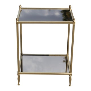 French Art Deco Maison Jansen Two-Tier Bronze Accent or Side Table Circa 1940s