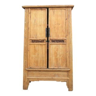 Grand Antique Pine Carved Armoire For Sale