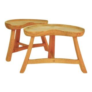 Krogenæs Møbler Pine Stools- A Pair For Sale
