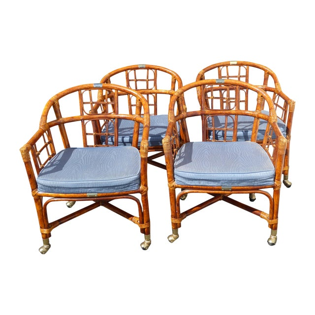 Mid-Century Modern Bamboo & Rattan Arm Chairs - 4 - Image 1 of 11