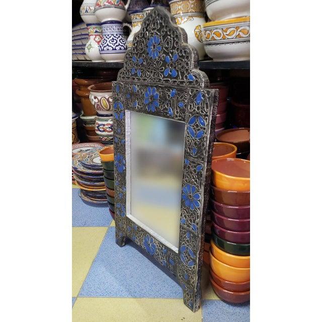 Moroccan Moroccan Ultra Arched Metal Inlaid Mirror, Rabat, Dark Blue Motif For Sale - Image 3 of 7