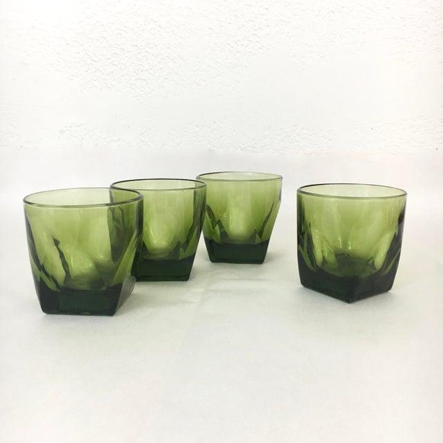Mid-Century Modern Hazel Atlas Avocado Whiskey Glasses - Set of 4 For Sale - Image 3 of 5
