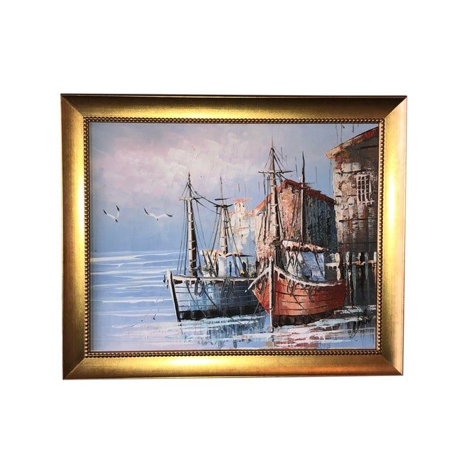 Paint French Boats in Harbor Painting For Sale - Image 7 of 7