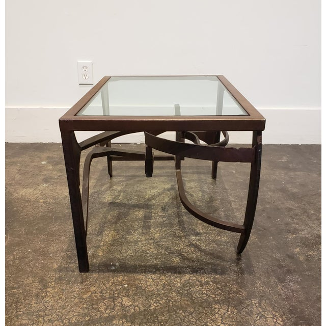 Postmodern Artisan Crafted Iron and Glass Table Postmodern Brutalist For Sale - Image 3 of 8