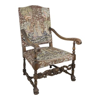 19th Century French Fauteuil ~ Armchair With Tapestry For Sale