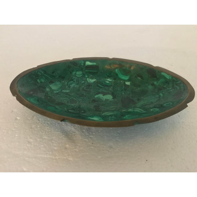 Dark Green Malachite and Brass Ashtray Catchall For Sale - Image 8 of 10