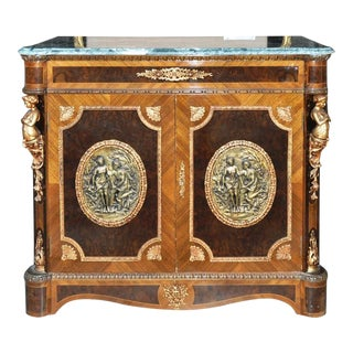 Louis XV Style Marble Top Cabinet With Figural Ormolu Bronze Mounts and Medallions For Sale