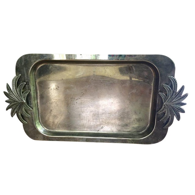 Vintage Silver Palm Tray - Image 1 of 3
