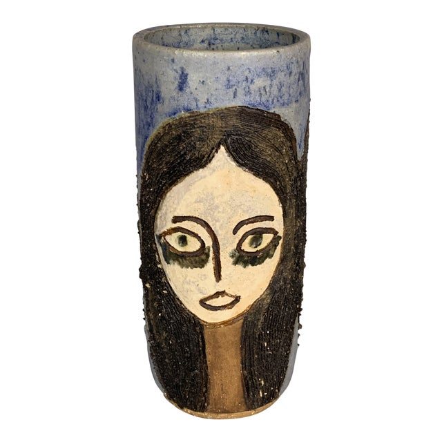 Mid-Century Face Vase, Signed Studio Pottery For Sale