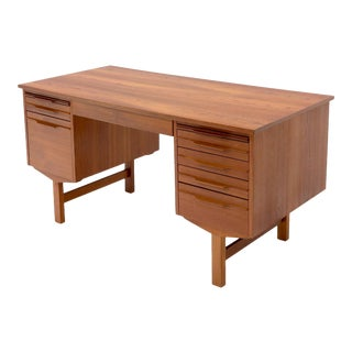 Danish Modern Double Pedestal Teak Desk Writing Table For Sale