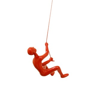 Climbing Man Wall Art Sculpture - Red