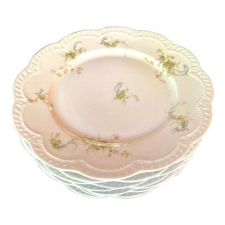 19th Century Haviland & Co. Limoges Scalloped Floral Dinner Plates - Set of 10 For Sale