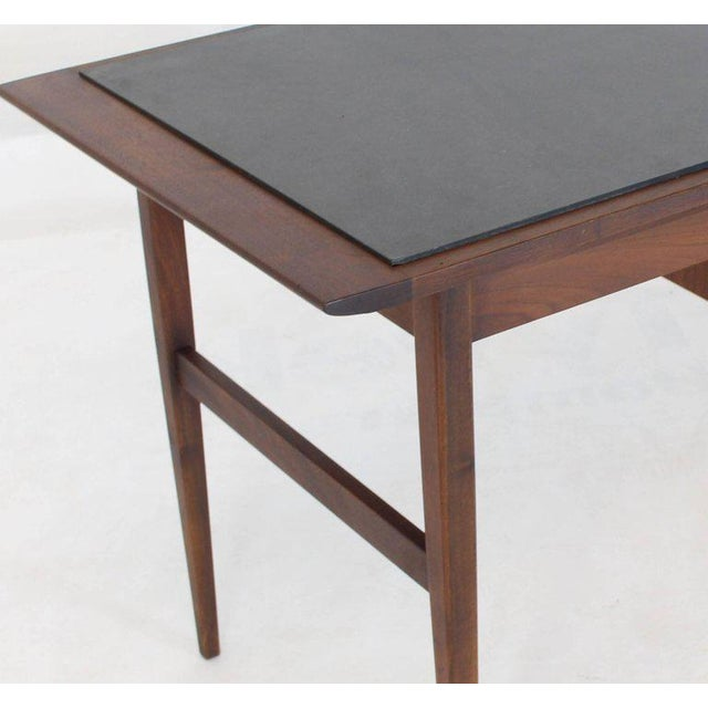 1970s Medium Small Danish Mid-Century Modern Oiled Walnut Desk With Slate Top For Sale - Image 5 of 11