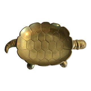 1960s Vintage Brass Turtle Dish For Sale