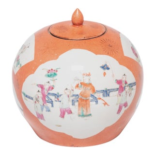 Early 20th Century Chinese Persimmon Painted Ginger Jar For Sale