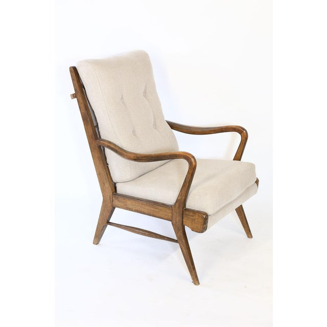 Mid 20th Century Pair of Mid-Century Modern Armchairs, Newly Upholstered For Sale - Image 5 of 9
