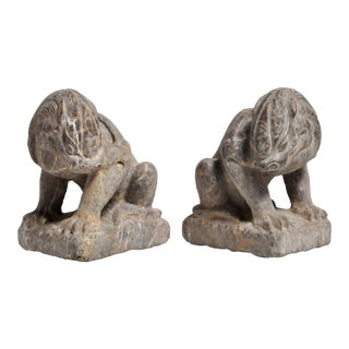 Asian Modern Stone Carved Lions on Pedestals - a Pair For Sale
