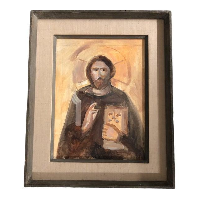Original Vintage Painting Saint Nicholas Modernist Frame For Sale