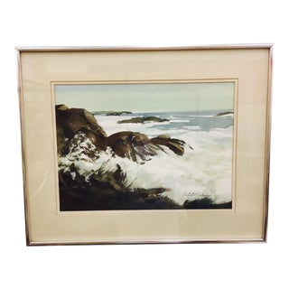 Vintage Framed Watercolor Seascape Painting For Sale