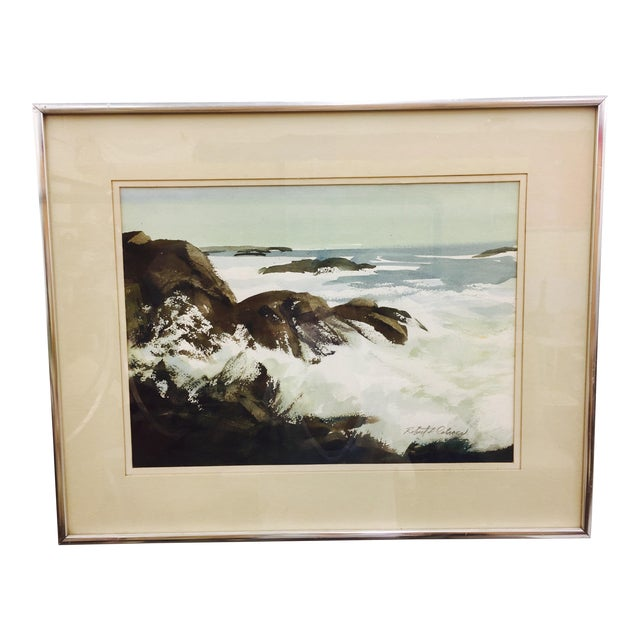 Vintage Framed Watercolor Seascape Painting - Image 1 of 8